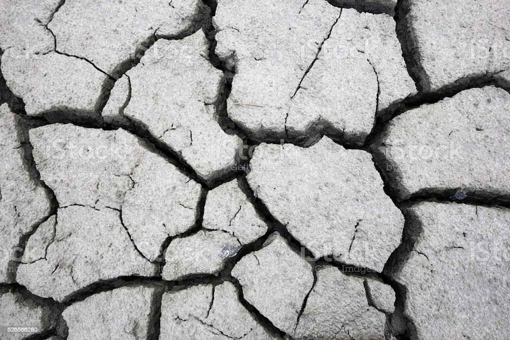 Cracks in ground. Directly above view. stock photo