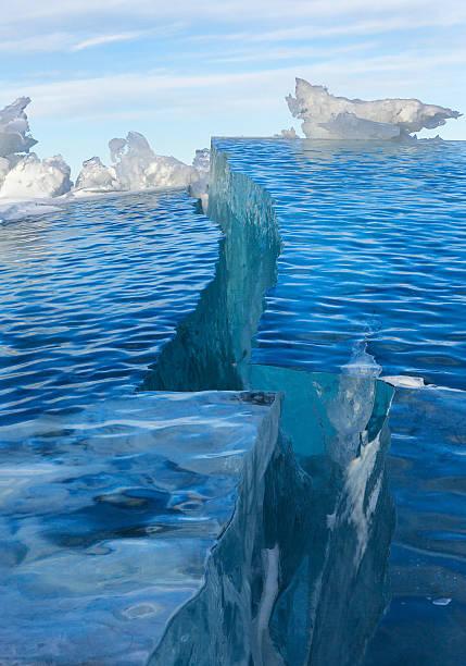 Cracks in the ice stock photo