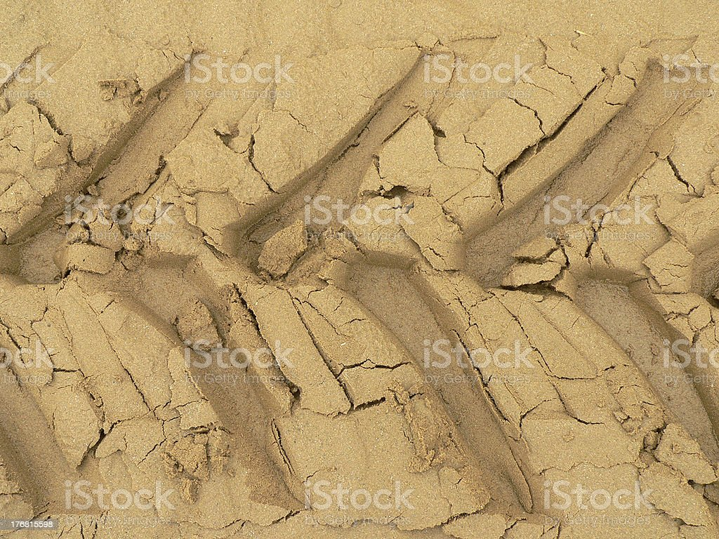 Cracks In The Sand, Tractor Marks royalty-free stock photo