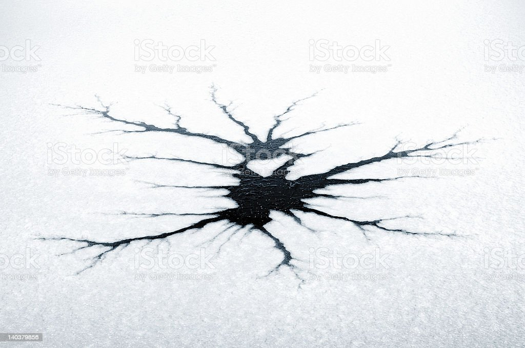 Cracks in thin ice stock photo
