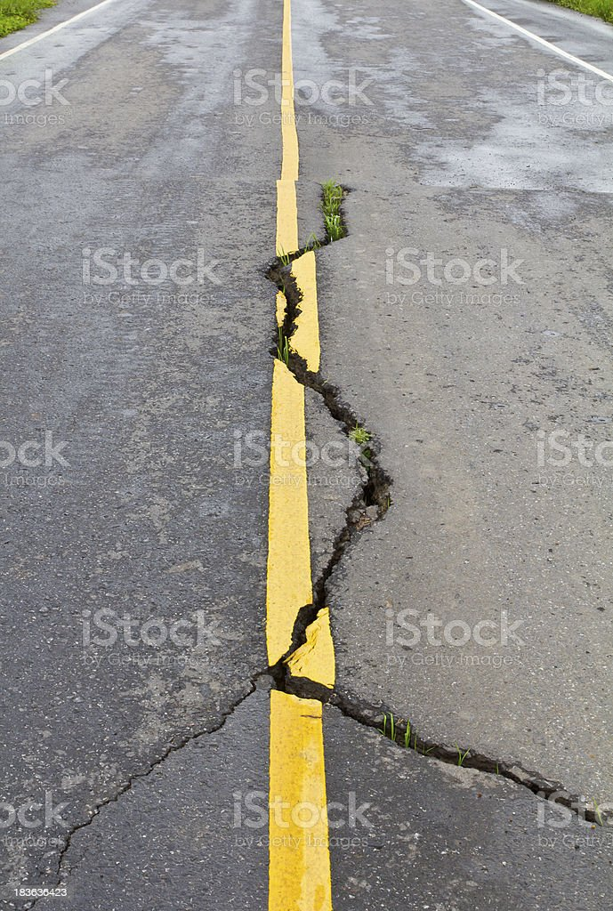Cracks on asphalt royalty-free stock photo