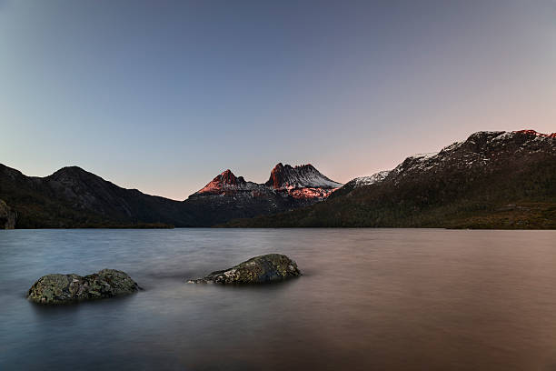 cradle mountain at dawn - cradle mountain stock photos and pictures