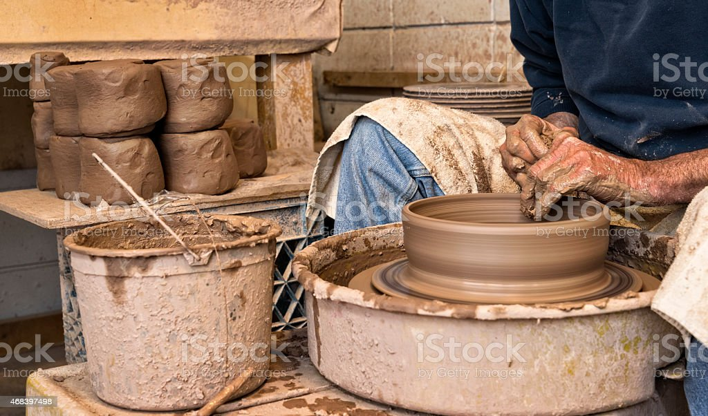 Craft Artisan Making Pottery stock photo