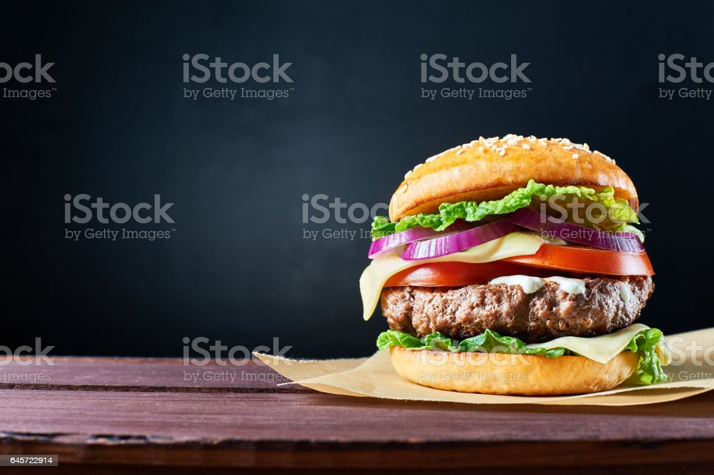 Craft beef burger. stock photo