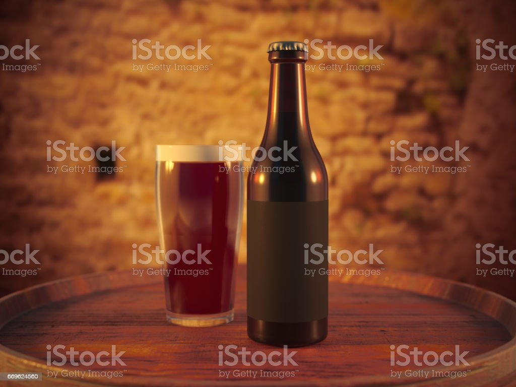 Craft Beer and glass on wood barrel stock photo