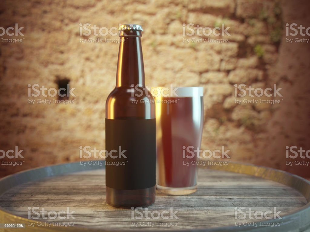 Craft Beer bottle and glass on wood barrel stock photo