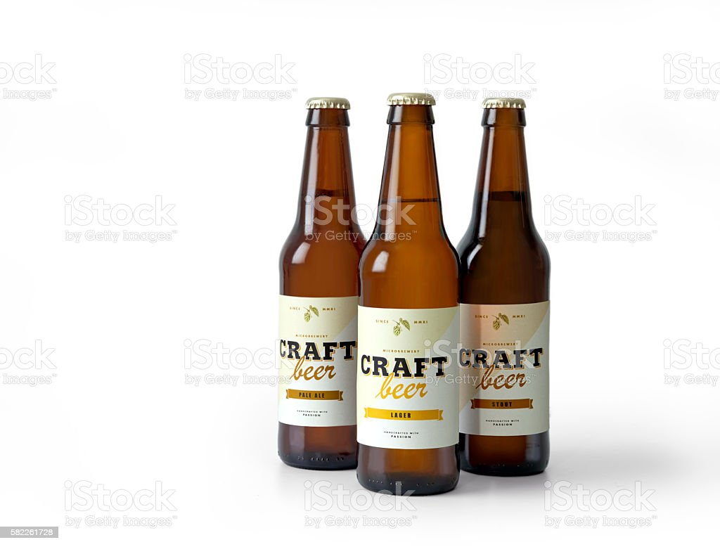 Craft beer bottles stock photo