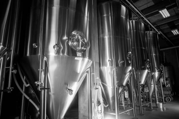 craft beer brewery - brewery tanks stock pictures, royalty-free photos & images