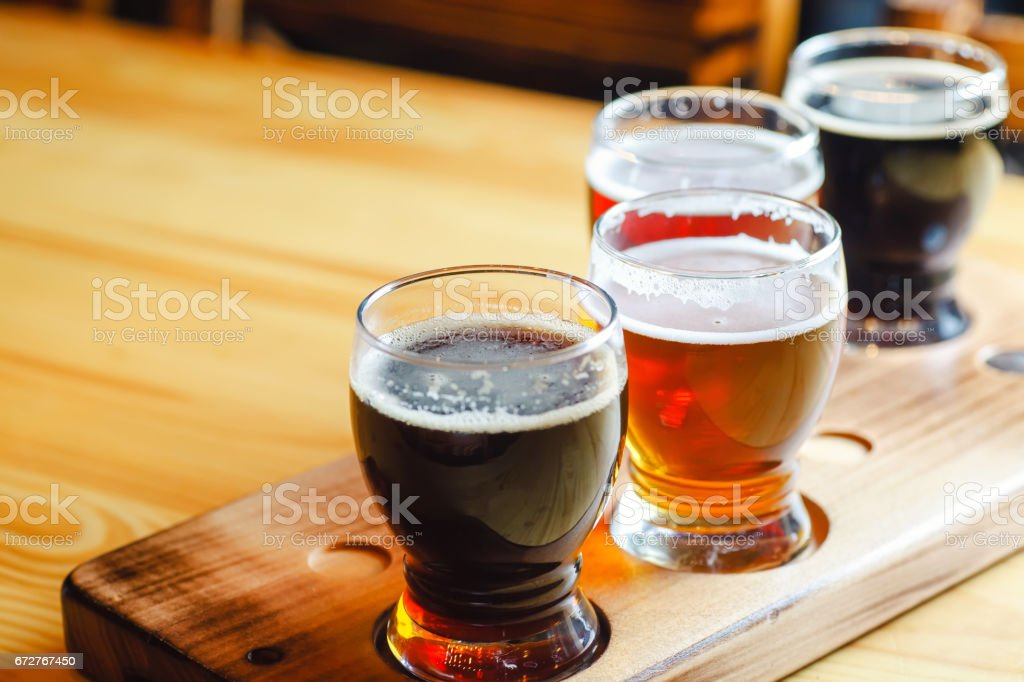 Craft beer flight stock photo