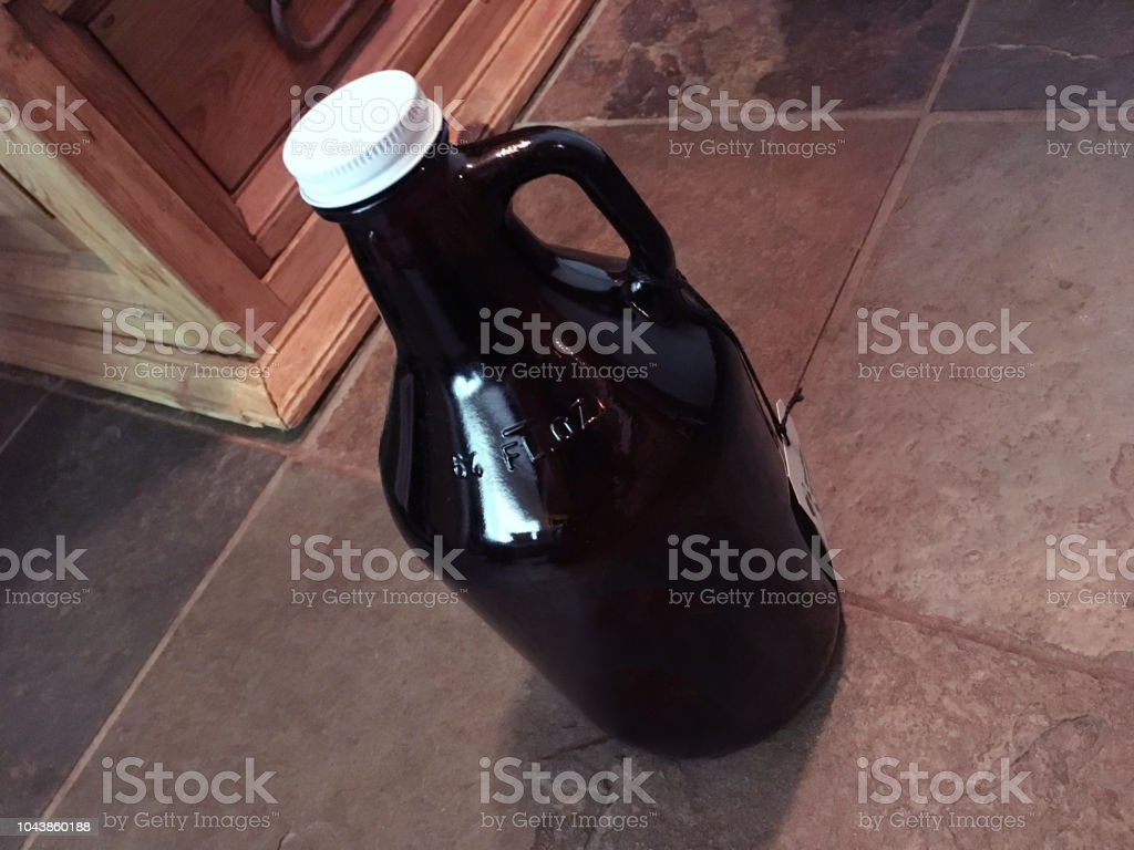 Craft Beer Growler, Rustic Home (1a3) stock photo