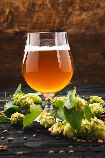 istock Craft beer on wooden background 1041019574