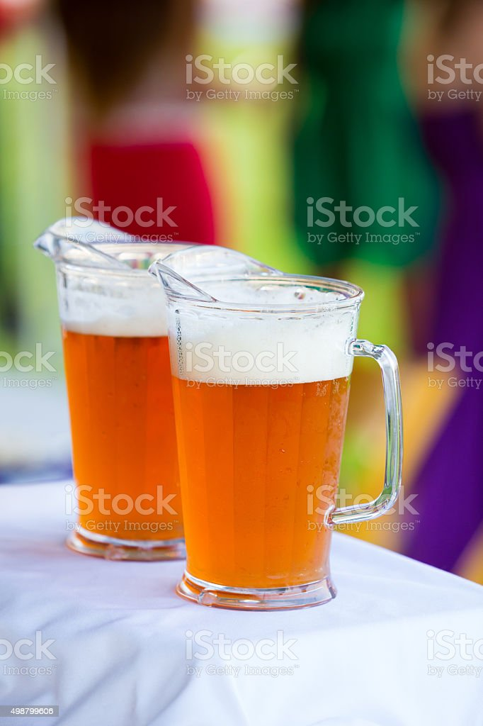 Craft Beer Pitchers at Wedding Reception stock photo