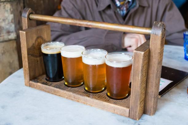 Craft Beer Sampler Four Glasses stock photo