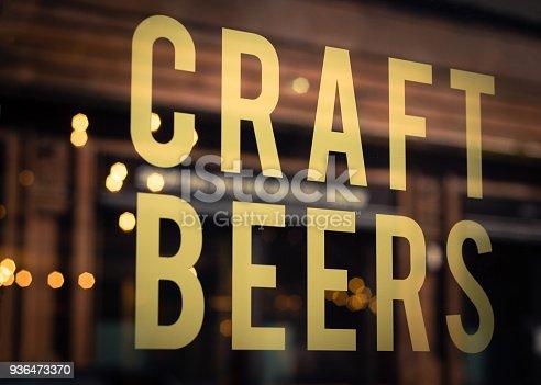 istock Craft Beer Sign in Brewery Window 936473370