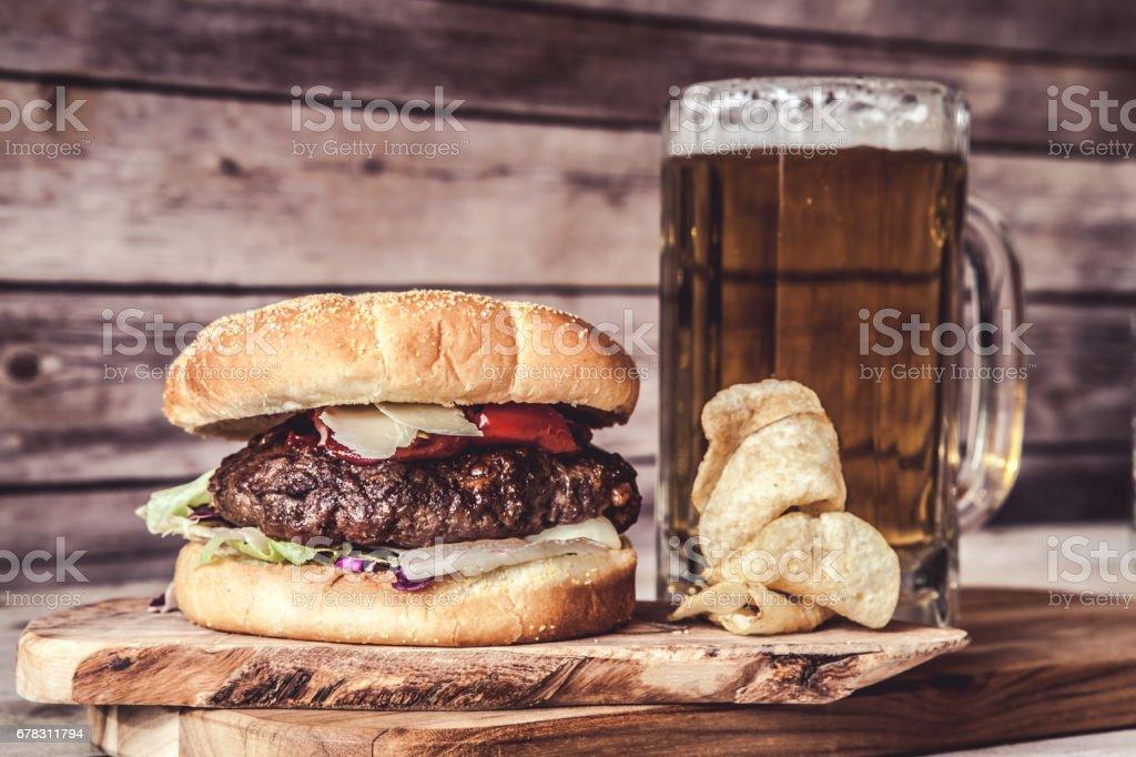 Craft Beer With Hamburger stock photo