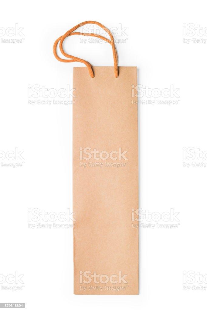 Kırpma yolu ile izole zanaat karton hediye şarap kutusu stok fotoğrafı