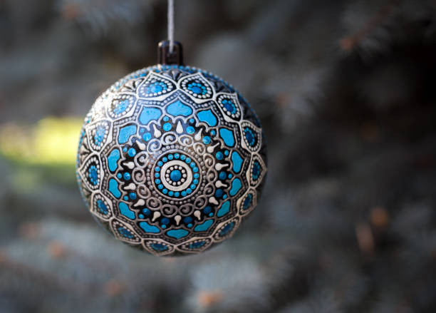 Craft christmas ball stock photo