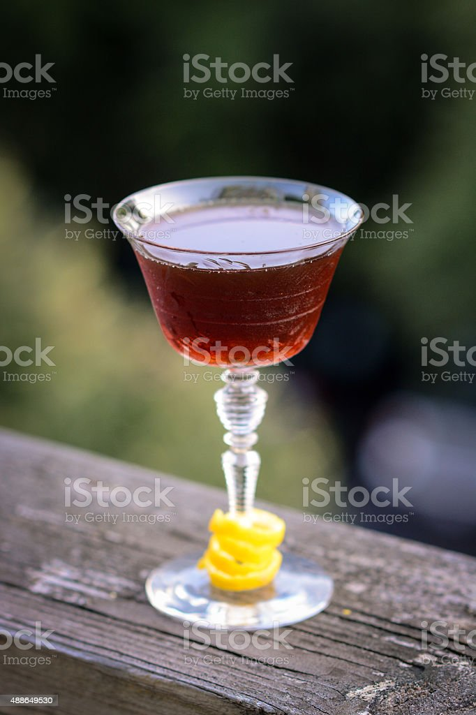 Craft cocktail in vintage glass stock photo