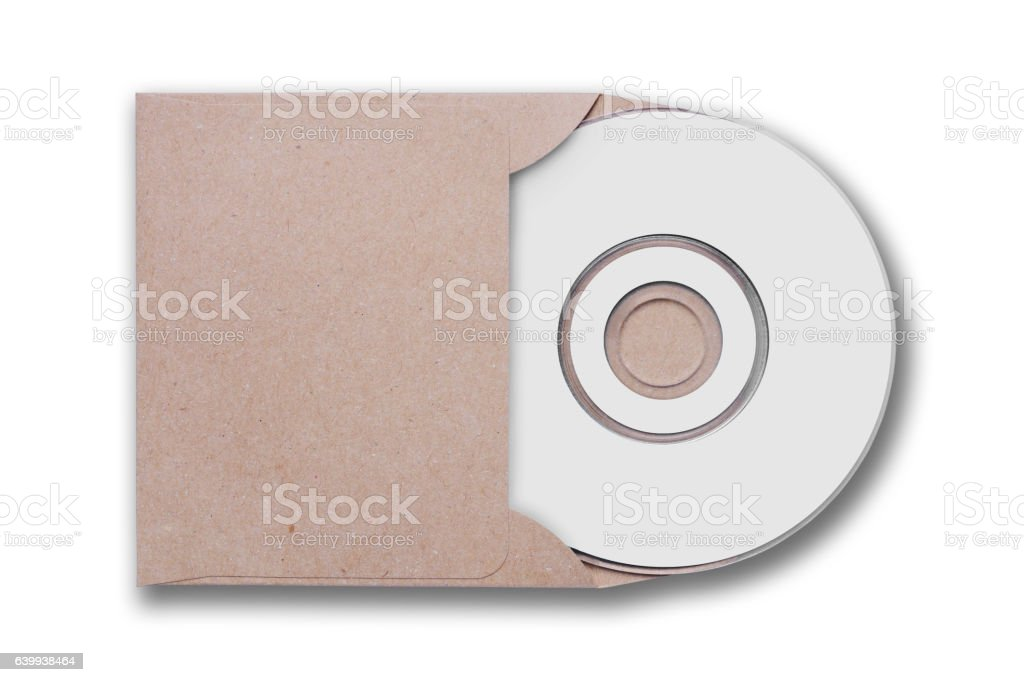 Craft envelope with cd disk stock photo