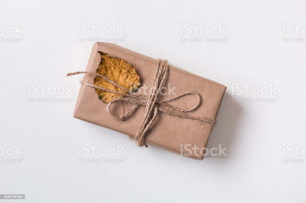 Craft gift box and dry autumn leaves royalty-free stock photo & Craft Gift Box And Dry Autumn Leaves Stock Photo u0026 More Pictures of ...