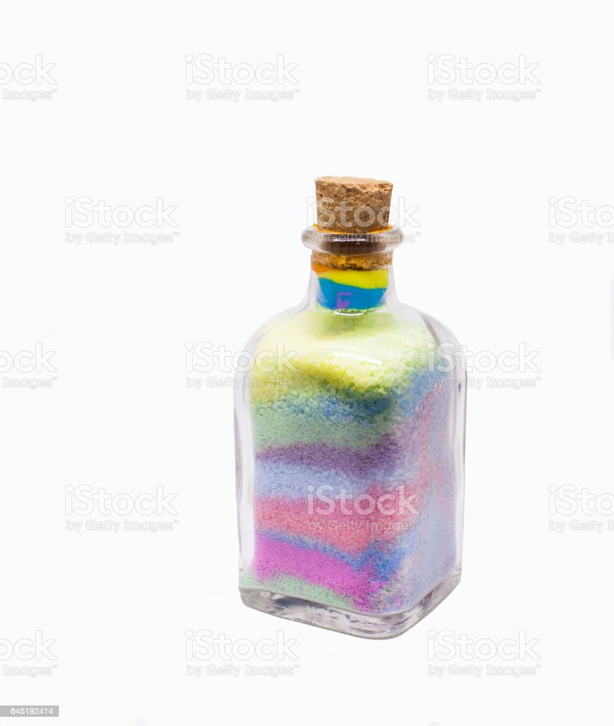 craft glass bottle with colored sand stock photo