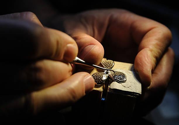 craft jewelery making. - hand gold jewels bildbanksfoton och bilder