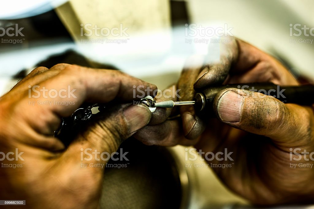 Craft jewelery making with professional tools stock photo
