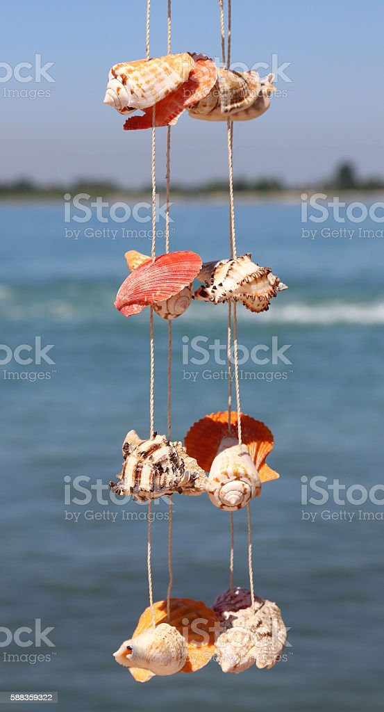 craft object with rare shells hanging from a wire stock photo