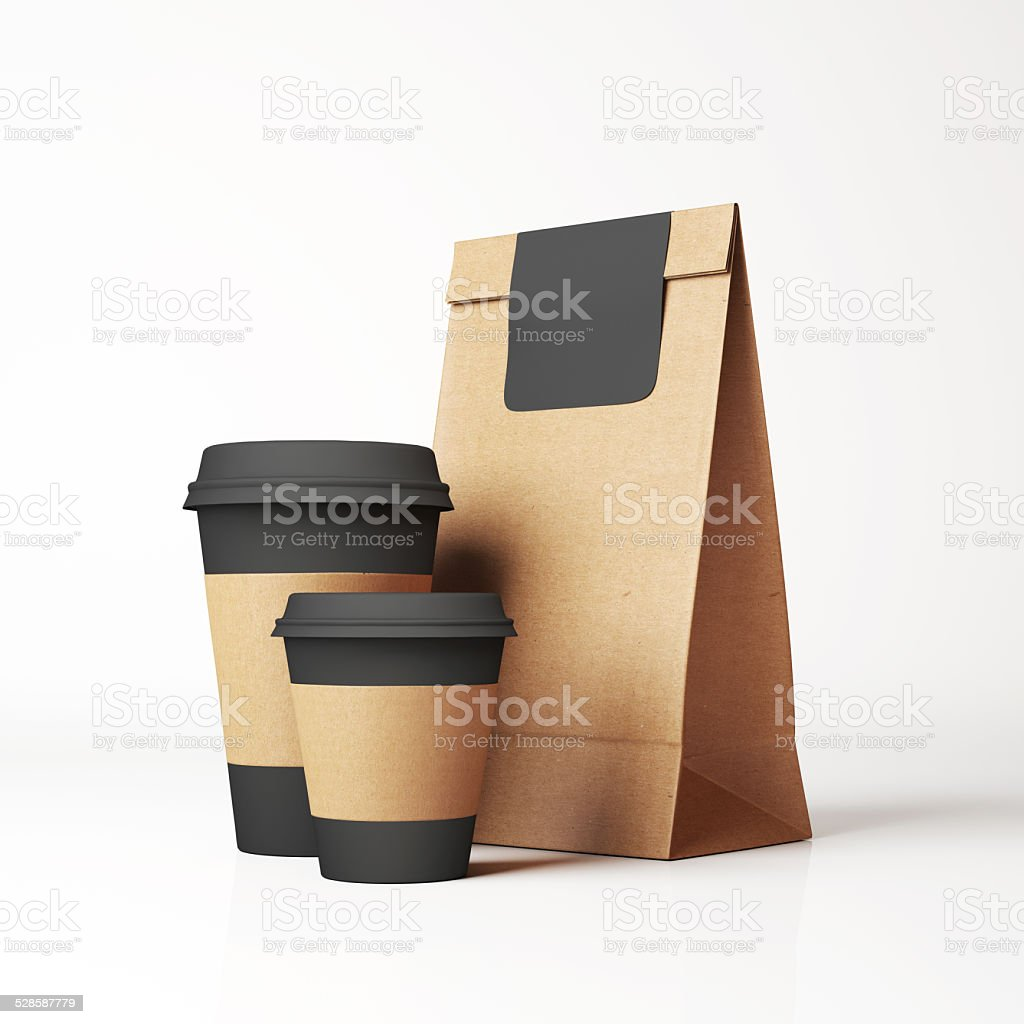 Craft paper bag and cups stock photo