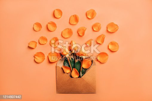 1147995495 istock photo Craft paper envelope with orange roses in petals on coral background 1214507442