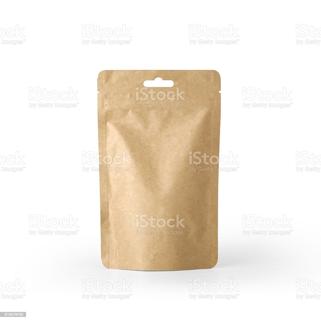 Craft paper pouch bag front view isolated on white background. stock photo