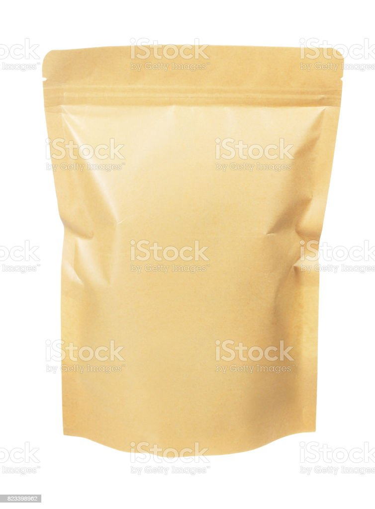Craft Paper Pouch Bag stock photo