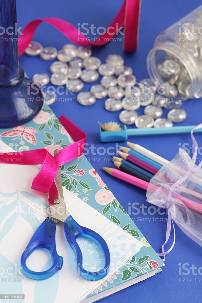 Craft project on blue royalty-free stock photo