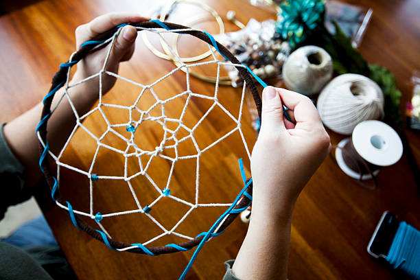 Craft Series: Making a Dream Catcher stock photo