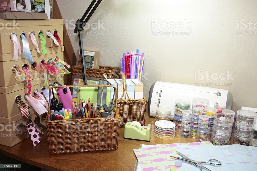 Crafting and Scrapbooking supplies on table royalty-free stock photo