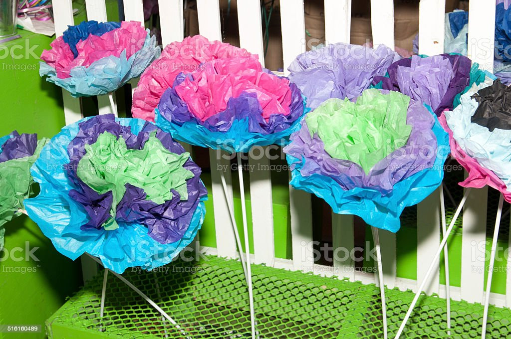 Crafting Colorful paper flowers stock photo