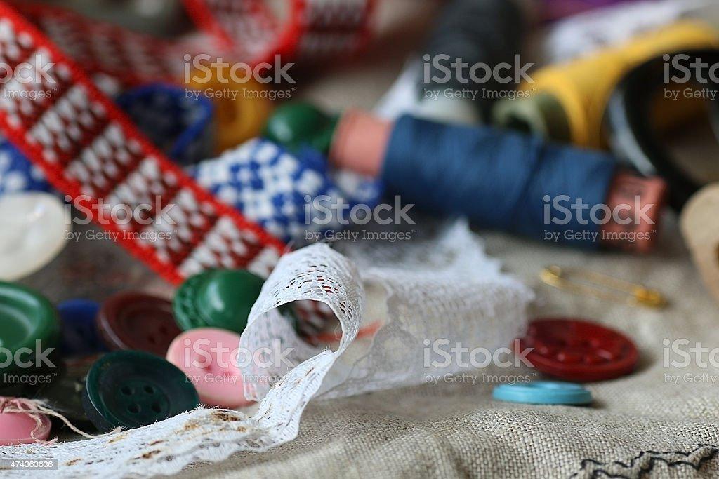 Artesanías Dressmaking Tijeras Botones De Rosca Foto De Stock Y Más