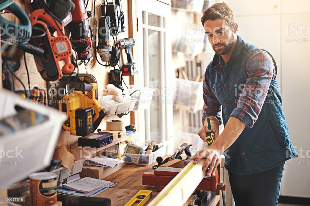 Craftsman at work stock photo