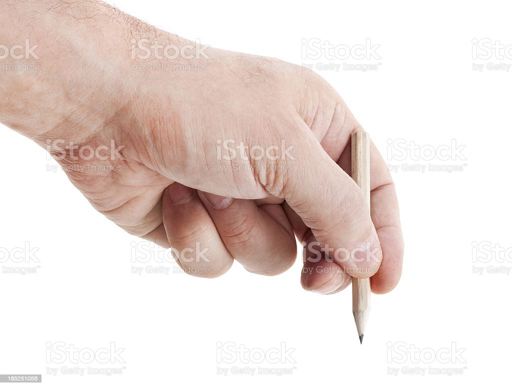 Craftsman hand with pencil on white royalty-free stock photo
