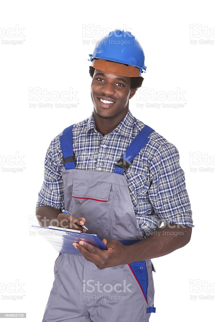 Craftsman Holding Contract stock photo