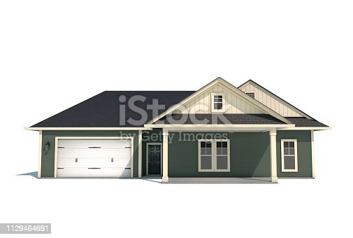 A modern USA styled craftsman style home isolated on a white background with a clipping path.