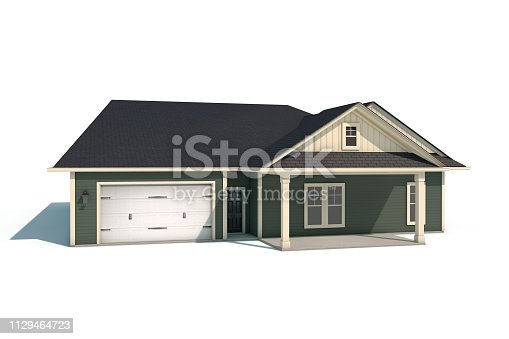 902034612istockphoto 3D Craftsman Style House on White Background 1129464723