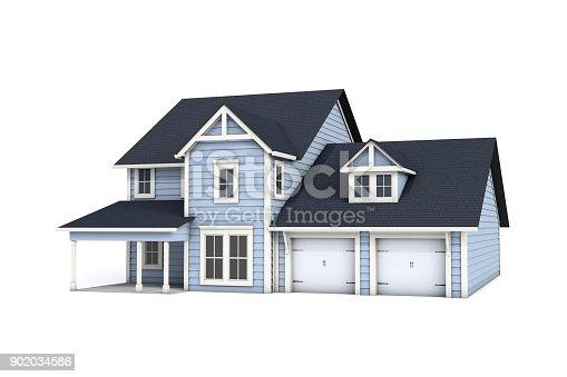 902034612 istock photo 3D US Craftsman Style House on White Background 902034586