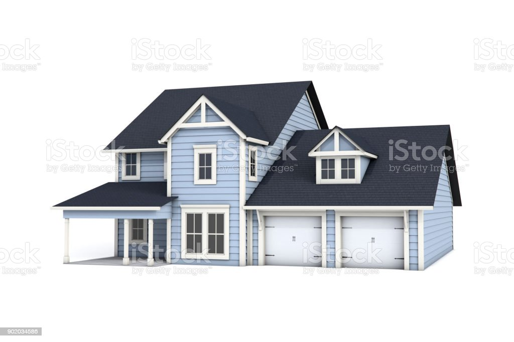 3D US Craftsman Style House on White Background stock photo