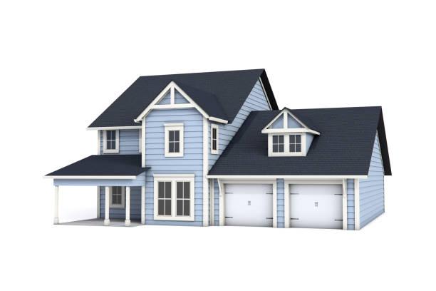 3d us craftsman style house on white background - isolated house, exterior imagens e fotografias de stock