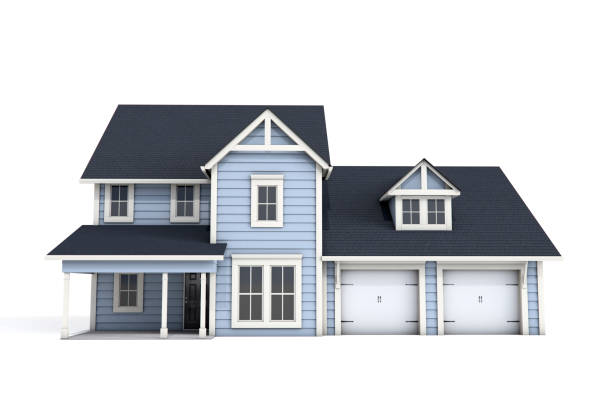 3D US Craftsman Style House on White Background - foto stock