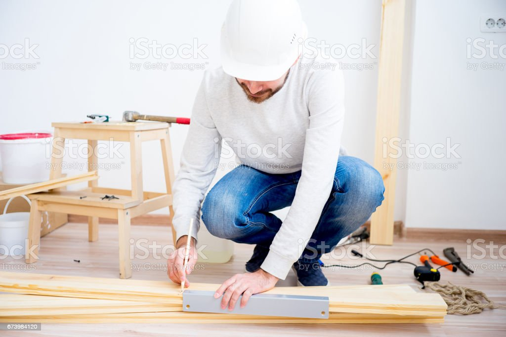 Craftsman with a pencil royalty-free stock photo