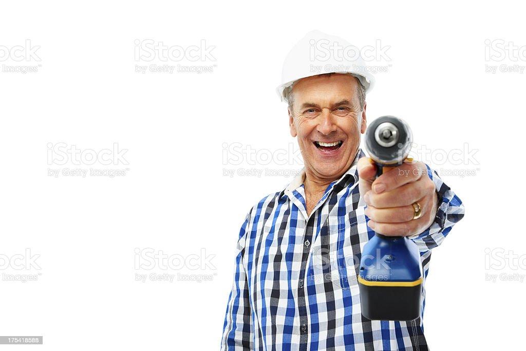 Craftsman with drill machine stock photo