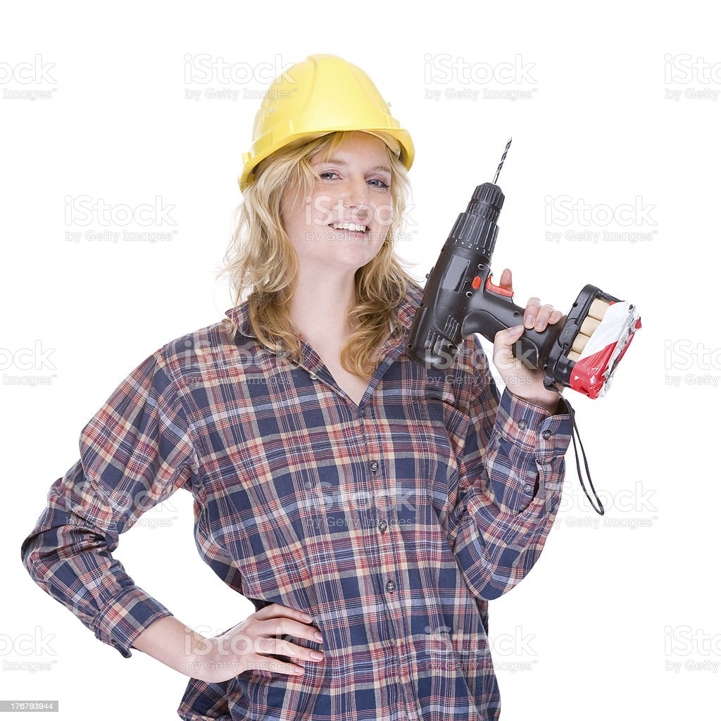 Craftswoman with drill machine royalty-free stock photo