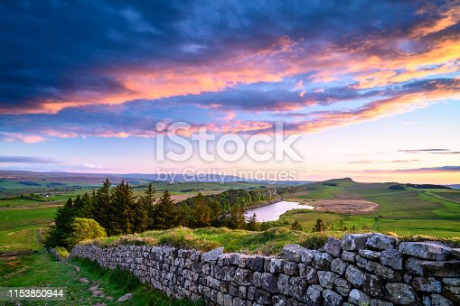 istock Crag Lough and Hadrian's Wall at Sunset 1153850944
